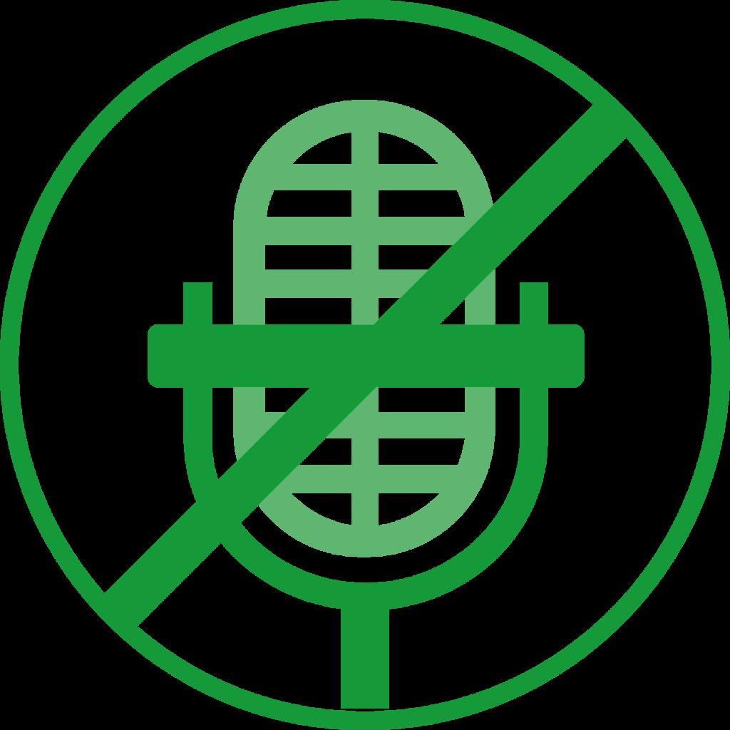 Icon eines durchgestrichenen Mikrofons.