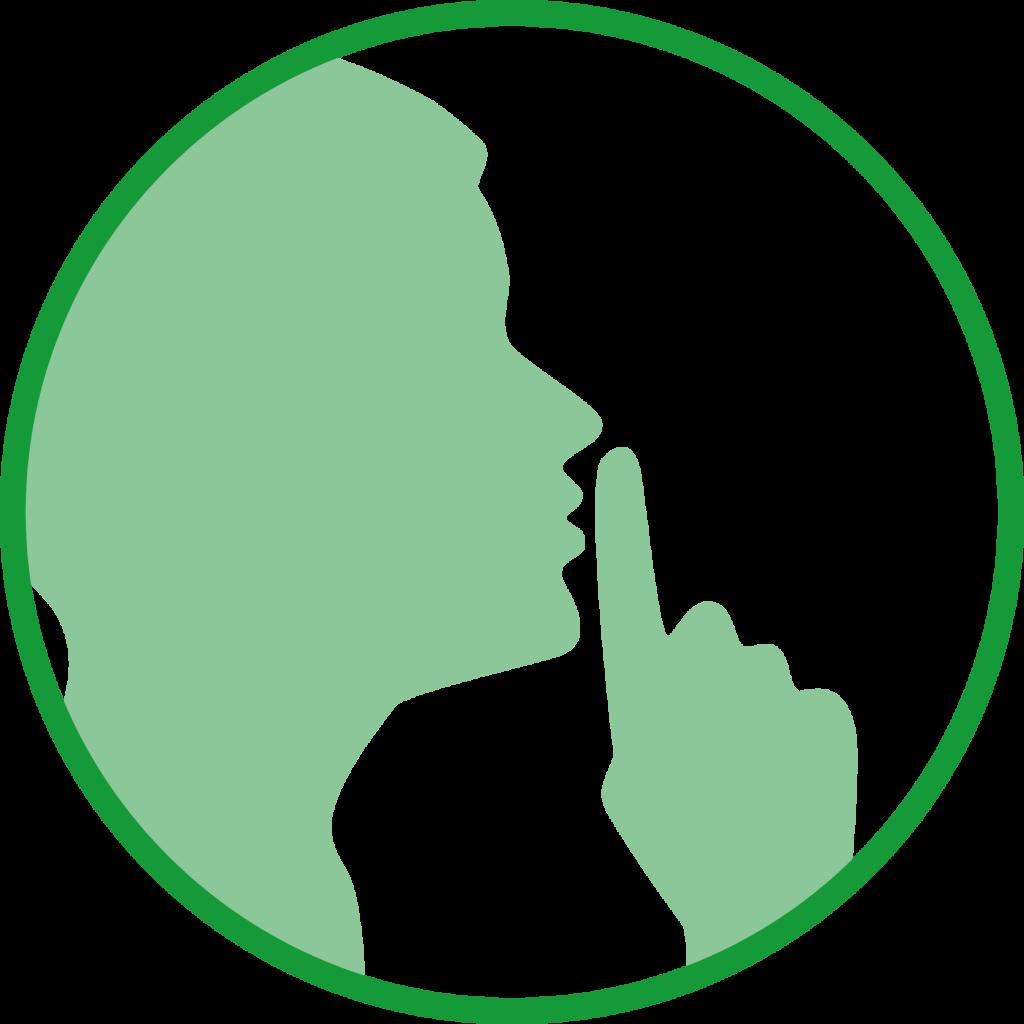 """Icon einer Person, die """"Psst!"""" macht."""