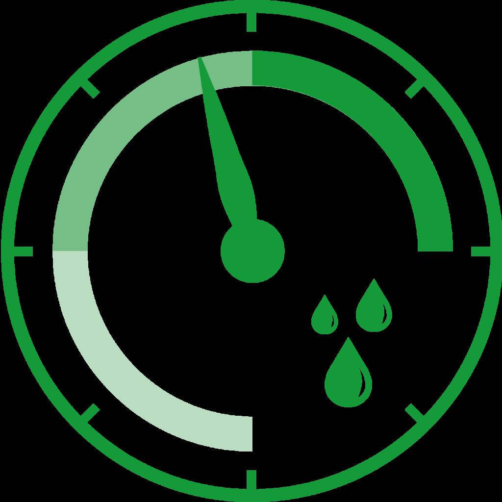 Icon mit Zeiger: zeigt Luftfeuchtigkeit an.
