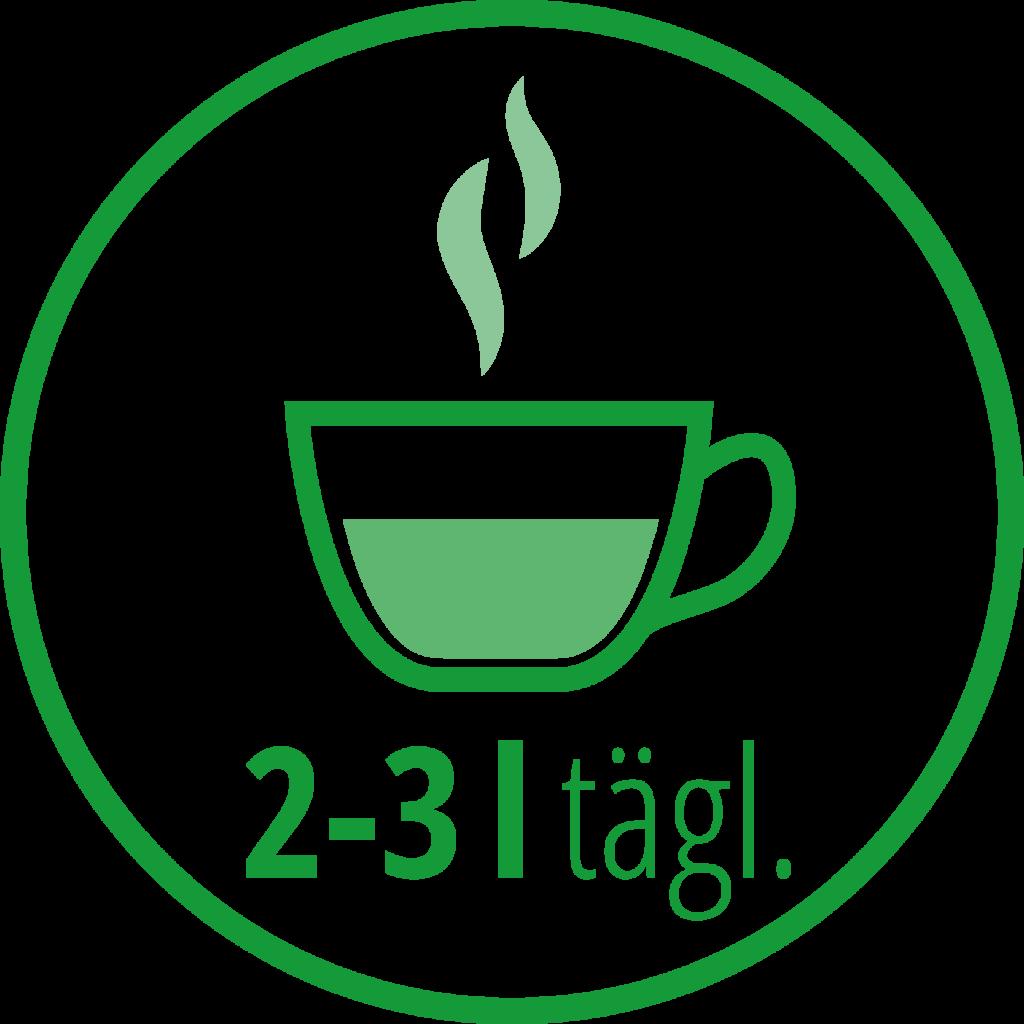 Icon mit Teetasse: 2-3 Liter täglich trinken.