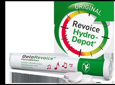 GeloRevoice® Produktverpackung mit Hydro-Depot Icon.